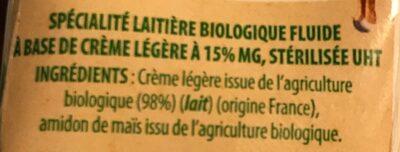 Crème luide 15% bridelice - Ingrédients