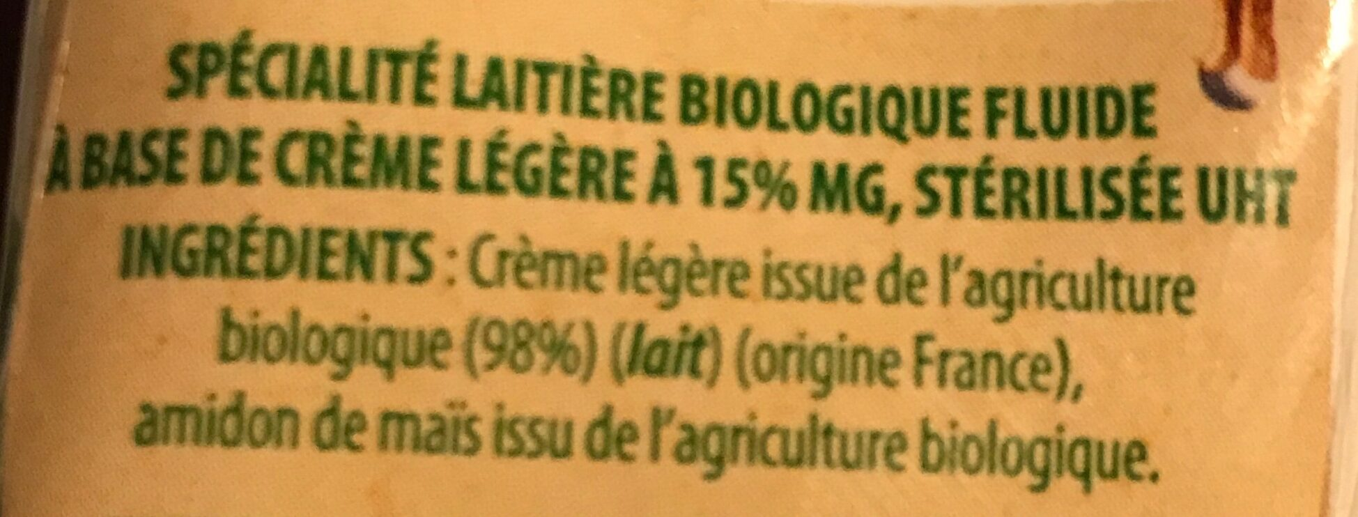 Bridélice BIO et legère 15% - Ingrediënten