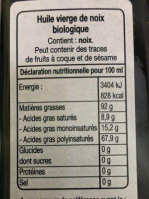 Huile vierge de Noix - Informations nutritionnelles