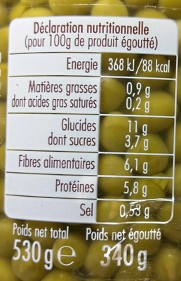 Petits Pois Extra Fins - Informations nutritionnelles