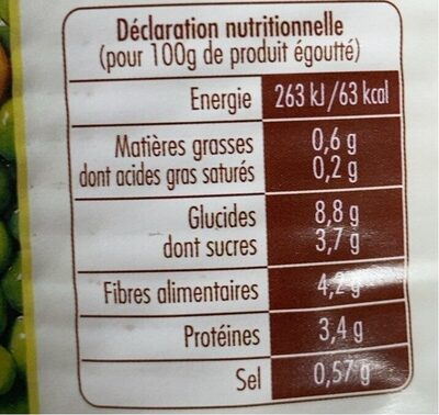 Petits Pois Carottes Extra Fins - Informations nutritionnelles - fr