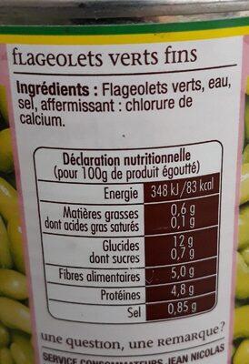 FLAGEOLETS VERT - Nutrition facts