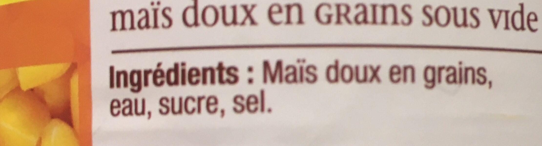 Mais grains doux Jean Nicolas Sous vide 1/2 - Ingrediënten