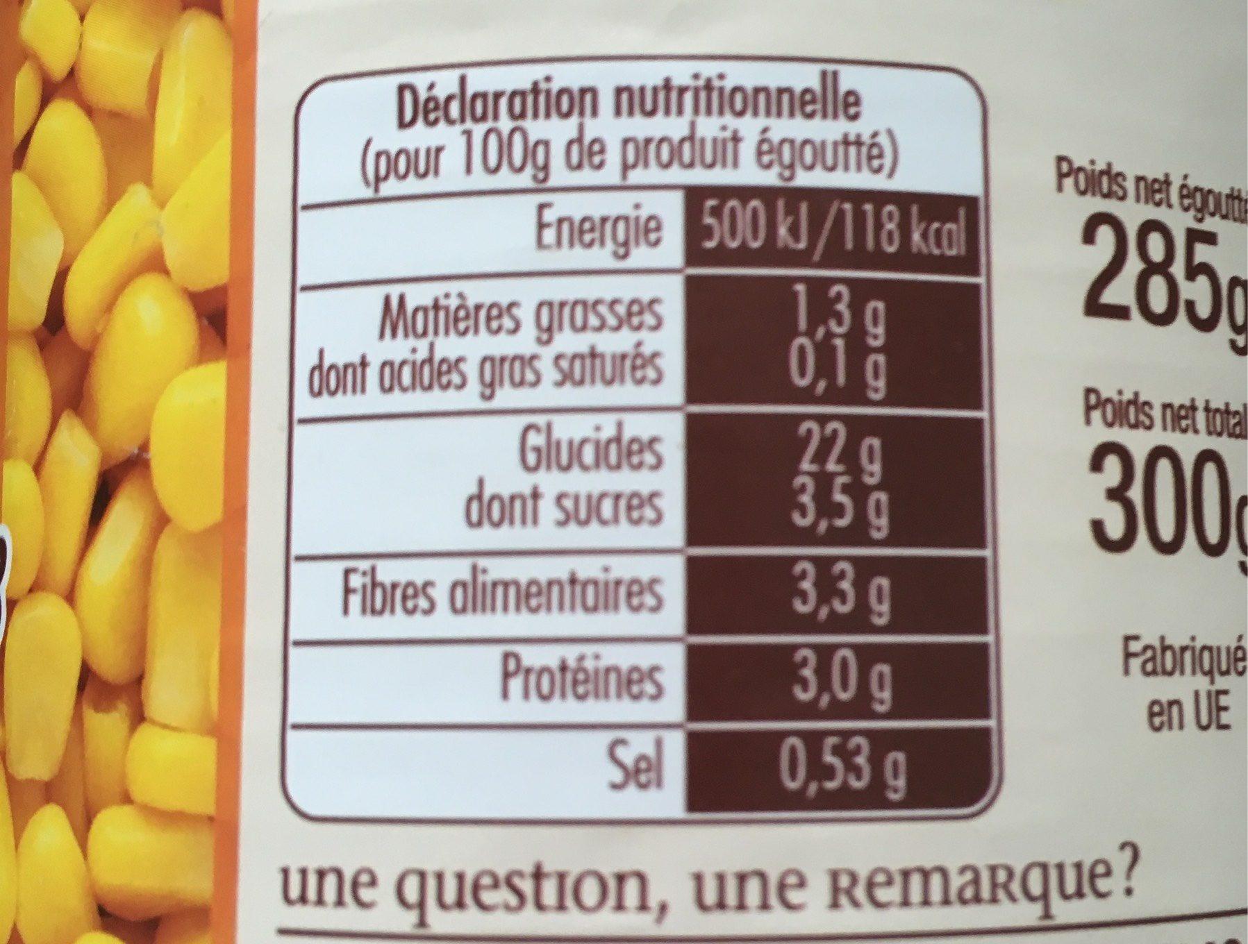 Mais grains doux Jean Nicolas Sous vide 1/2 - Voedingswaarden