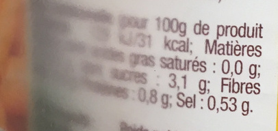 Carottes extra-fines - Informations nutritionnelles