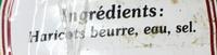 Haricots beurre coupés fins - Ingrédients - fr