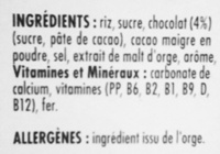 Coco pops - Ingredients