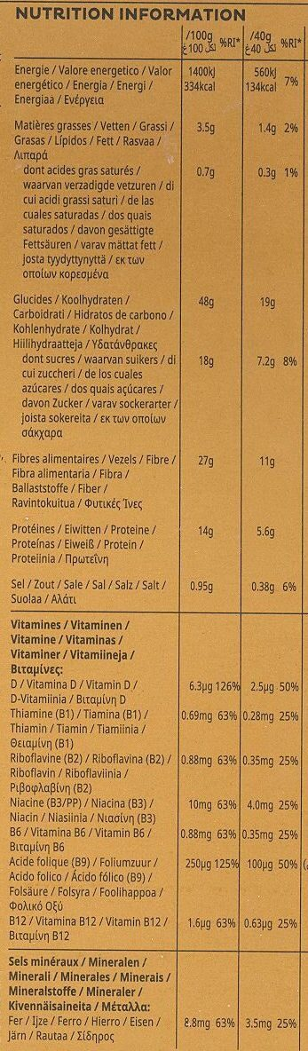All Bran fibre plus - Voedingswaarden - fr