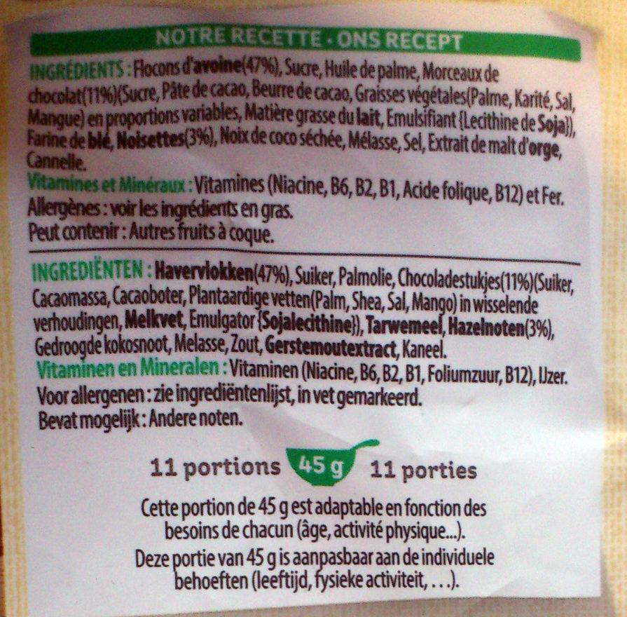 Extra ® Pépites (Morceaux de Chocolat Noir & Noisettes Grillées) - Ingrédients