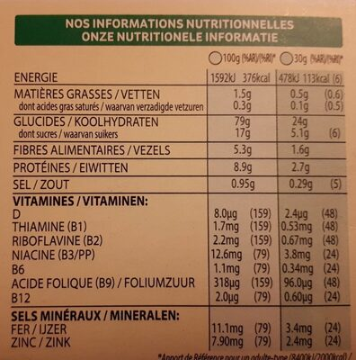Spécial K - Céréales fruits rouges - Voedingswaarden
