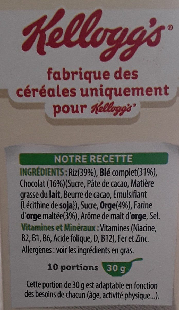 Special K Chocolat Noir - Ingredients - fr