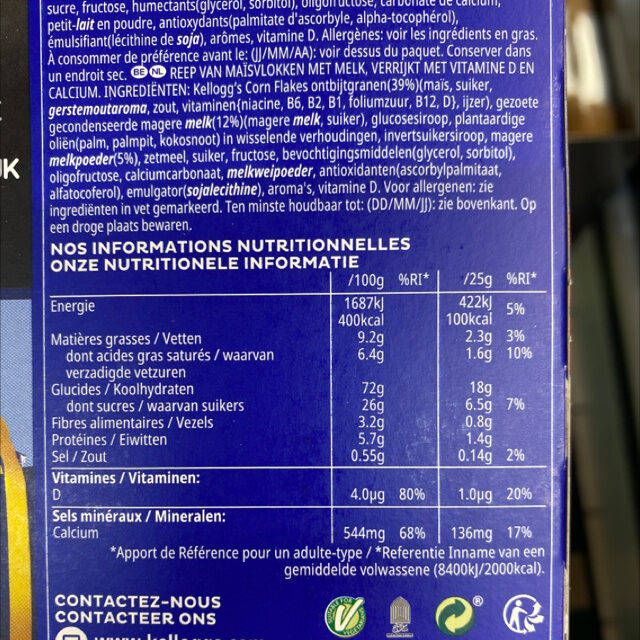 Kellogg's Barres Frosties 6x25g - Informations nutritionnelles - fr