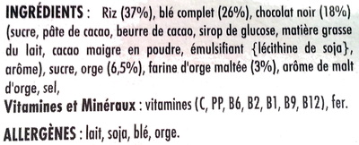 Céréales Special K Kellogg's Chocolat noir - Ingredientes