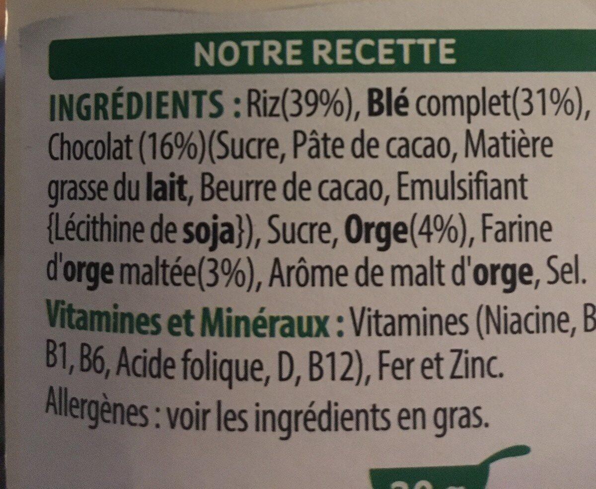 Special K feuilles de Chocolat Noir (Format Maxi) - Ingrediënten