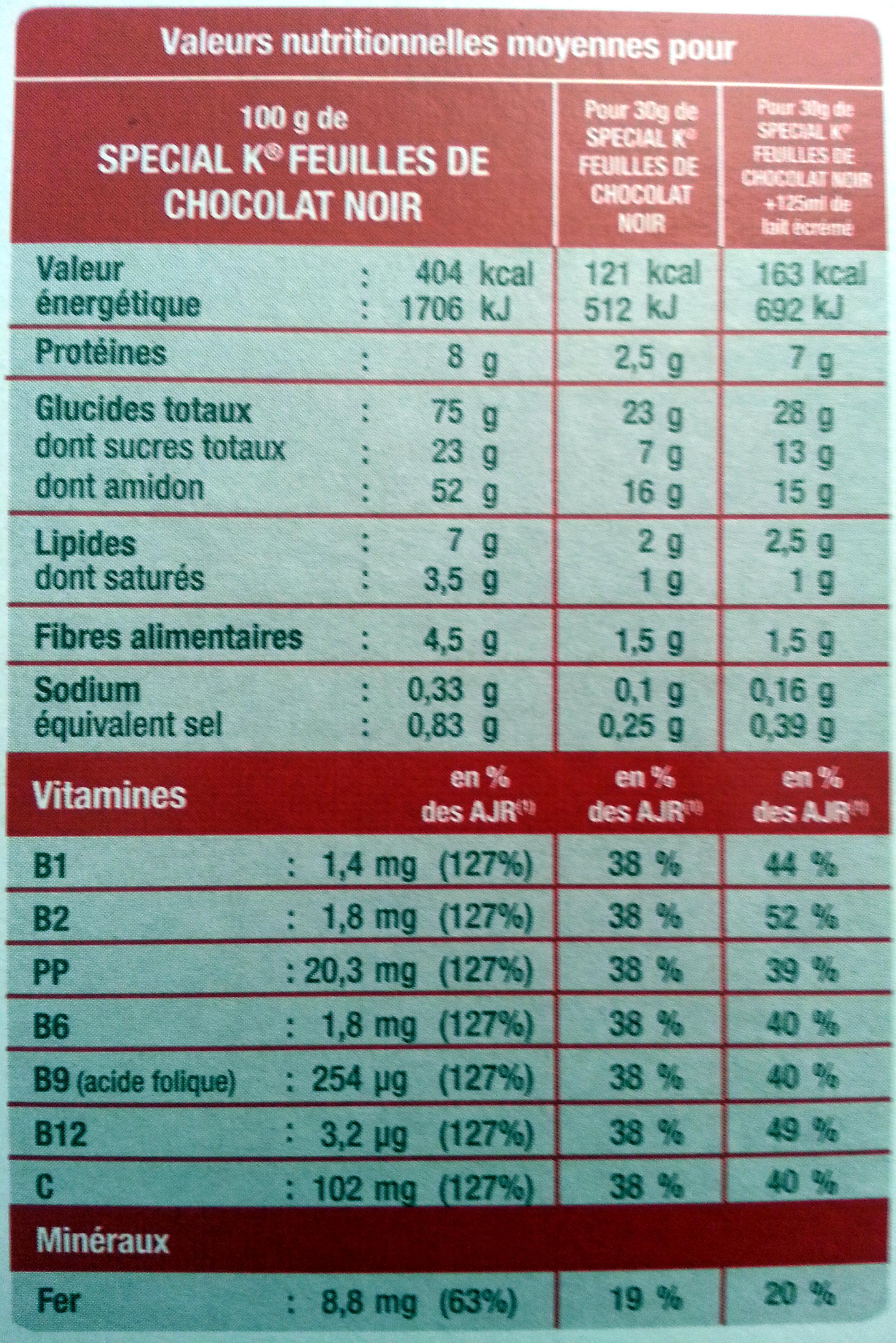 Céréales Special K Kellogg's Chocolat noir - Voedingswaarden