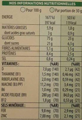 Special K feuilles de Chocolat Noir (Format Maxi) - Voedingswaarden - fr