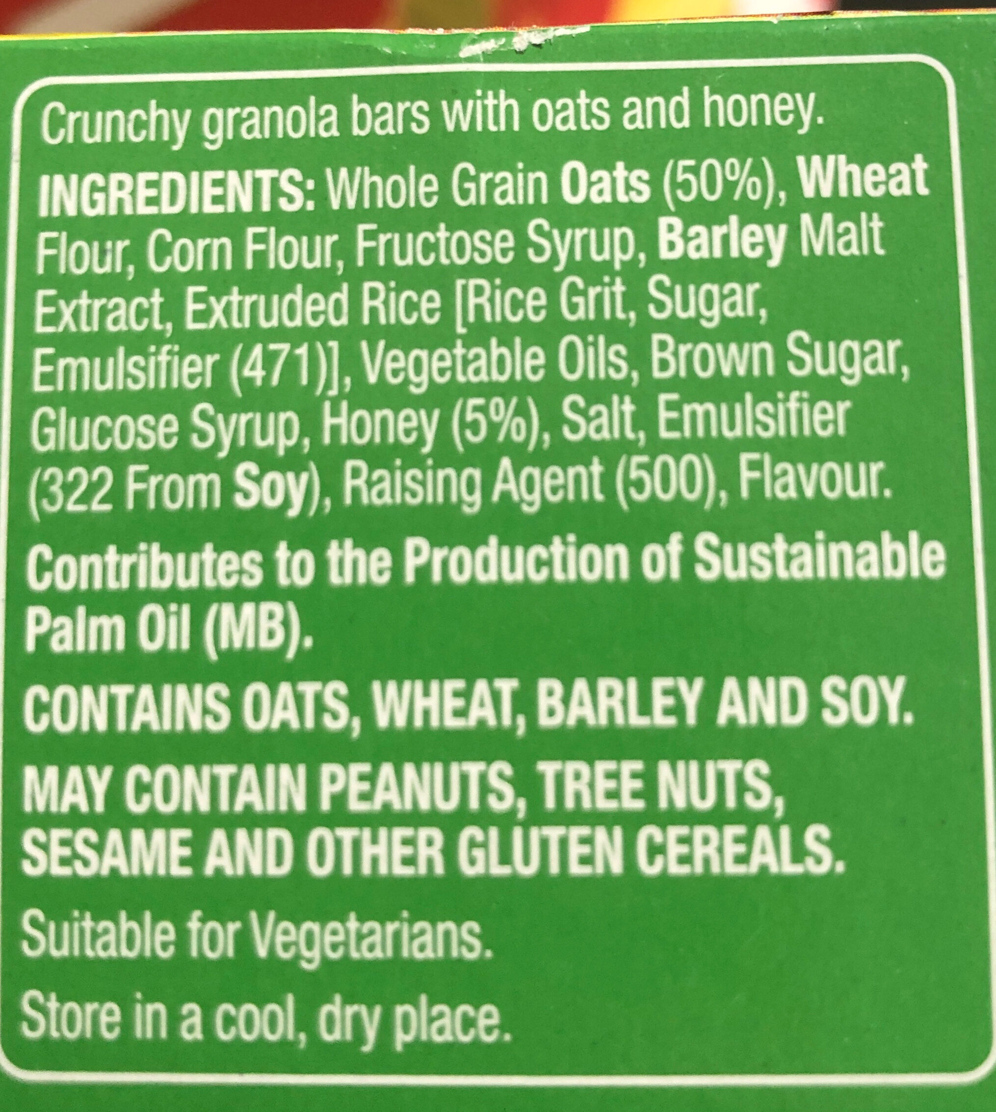 Crunchy granola bars - Ingredients