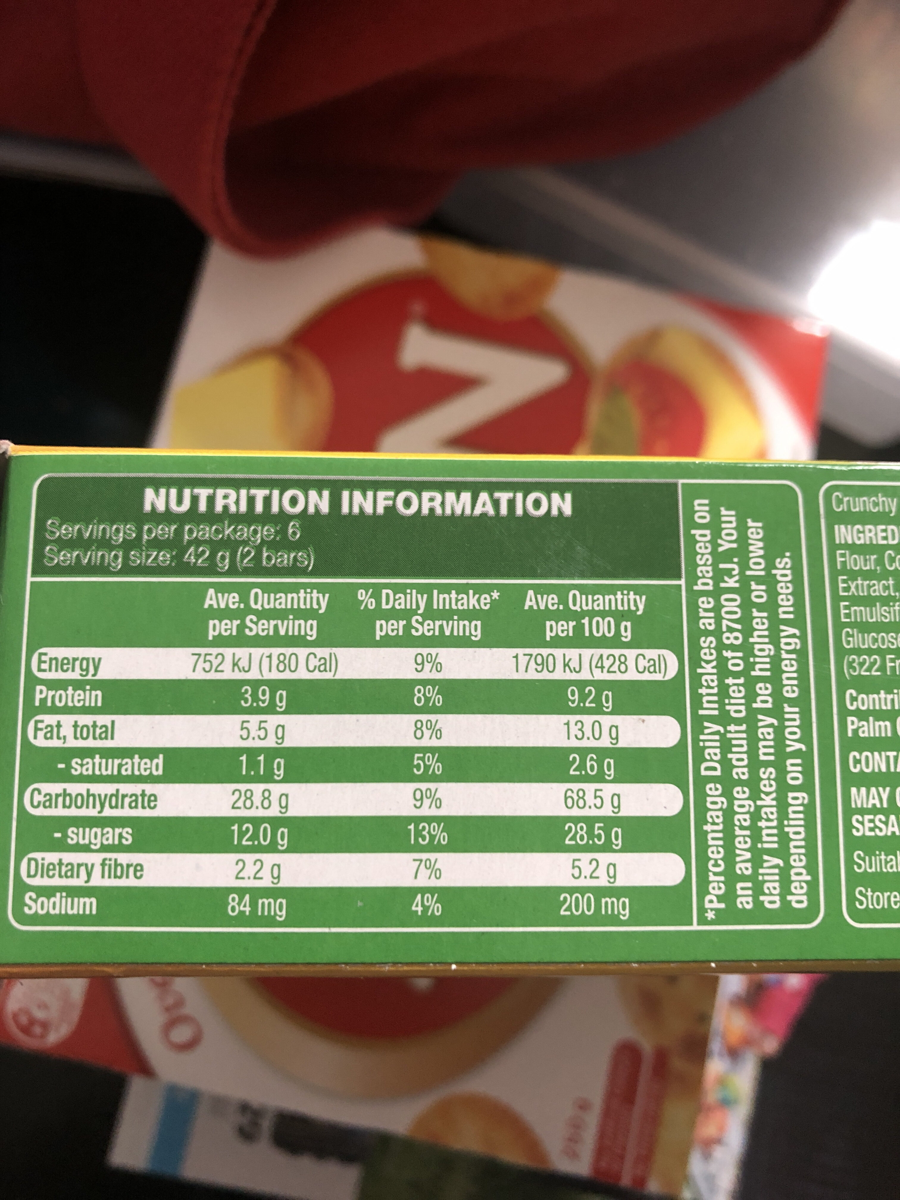 Crunchy granola bars - Nutrition facts