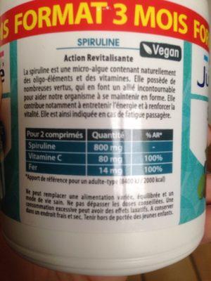 Spiruline - Informations nutritionnelles