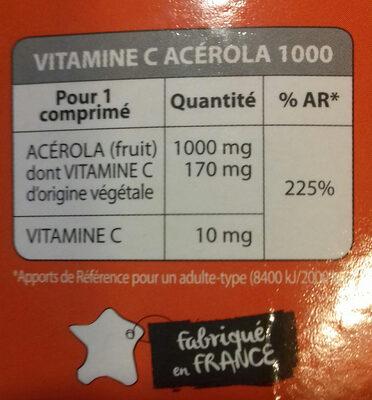 Vitamine C Acérola 1000 - Informations nutritionnelles - fr