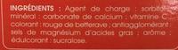 Junior Vitamine C & Calcium goût Fraise à croquer - Ingrédients