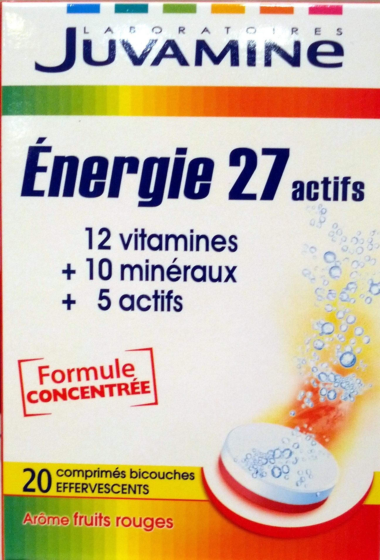 Juvamine Energie 27 actifs Arôme fruits rouges - Produit