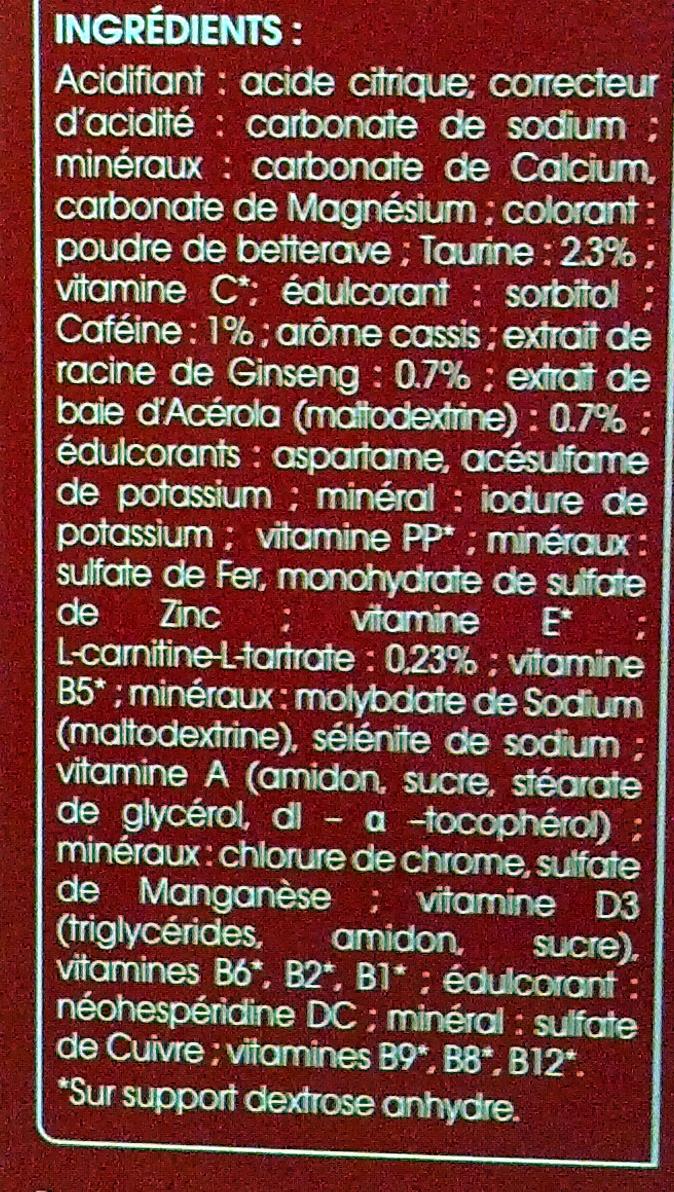 Juvamine Energie 27 actifs Arôme fruits rouges - Ingrédients