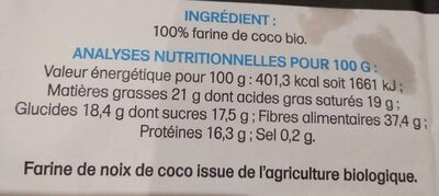 Farine de Coco Biologique - Informations nutritionnelles - fr