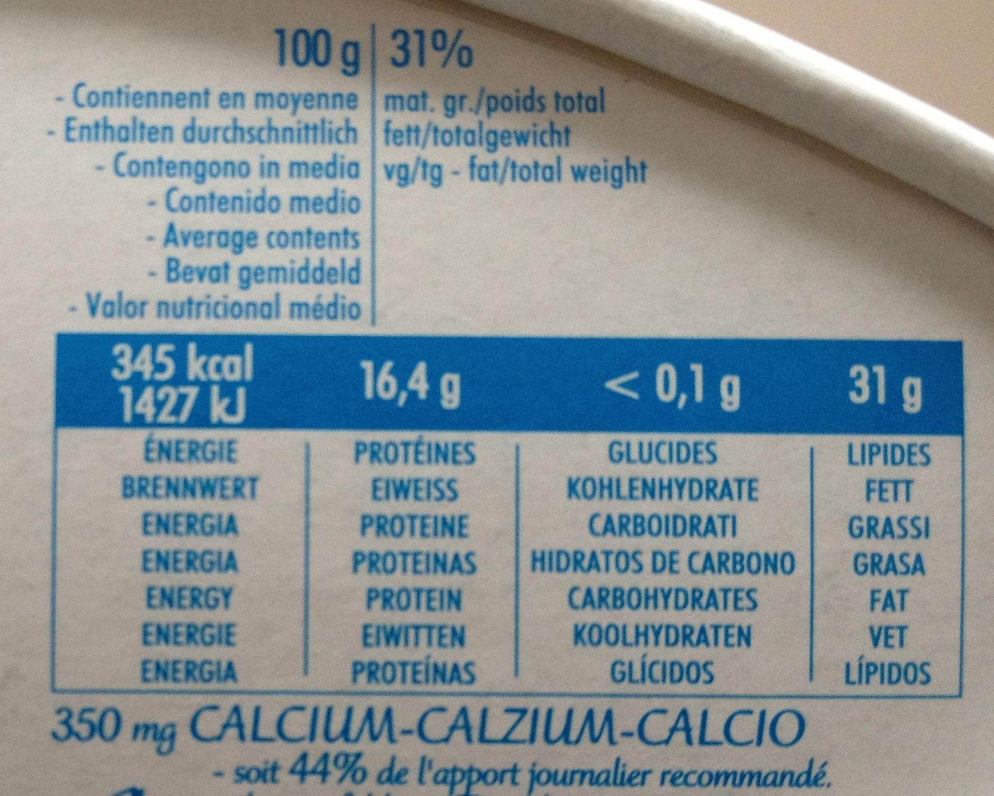 Caprice des Dieux - Informazioni nutrizionali
