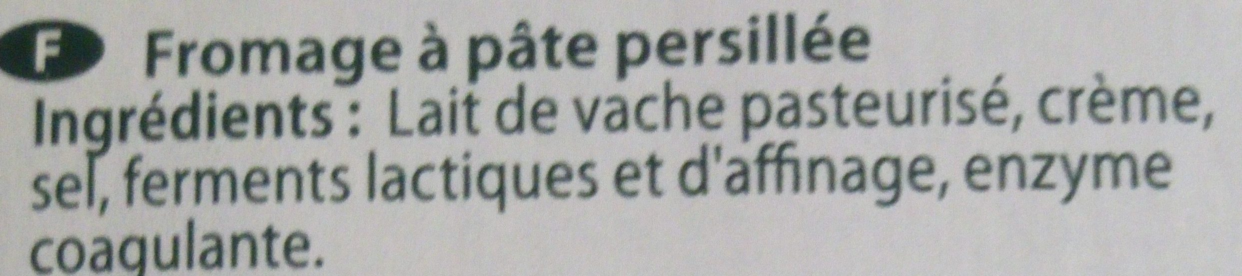 Bleu Doux De France - Ingrediënten - fr