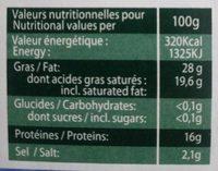 Bleu Doux De France - Voedingswaarden - fr
