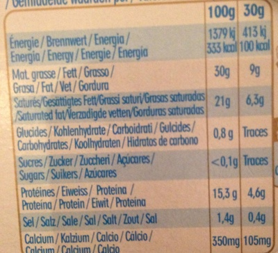 Caprice des Dieux (30 % MG) - Informazioni nutrizionali