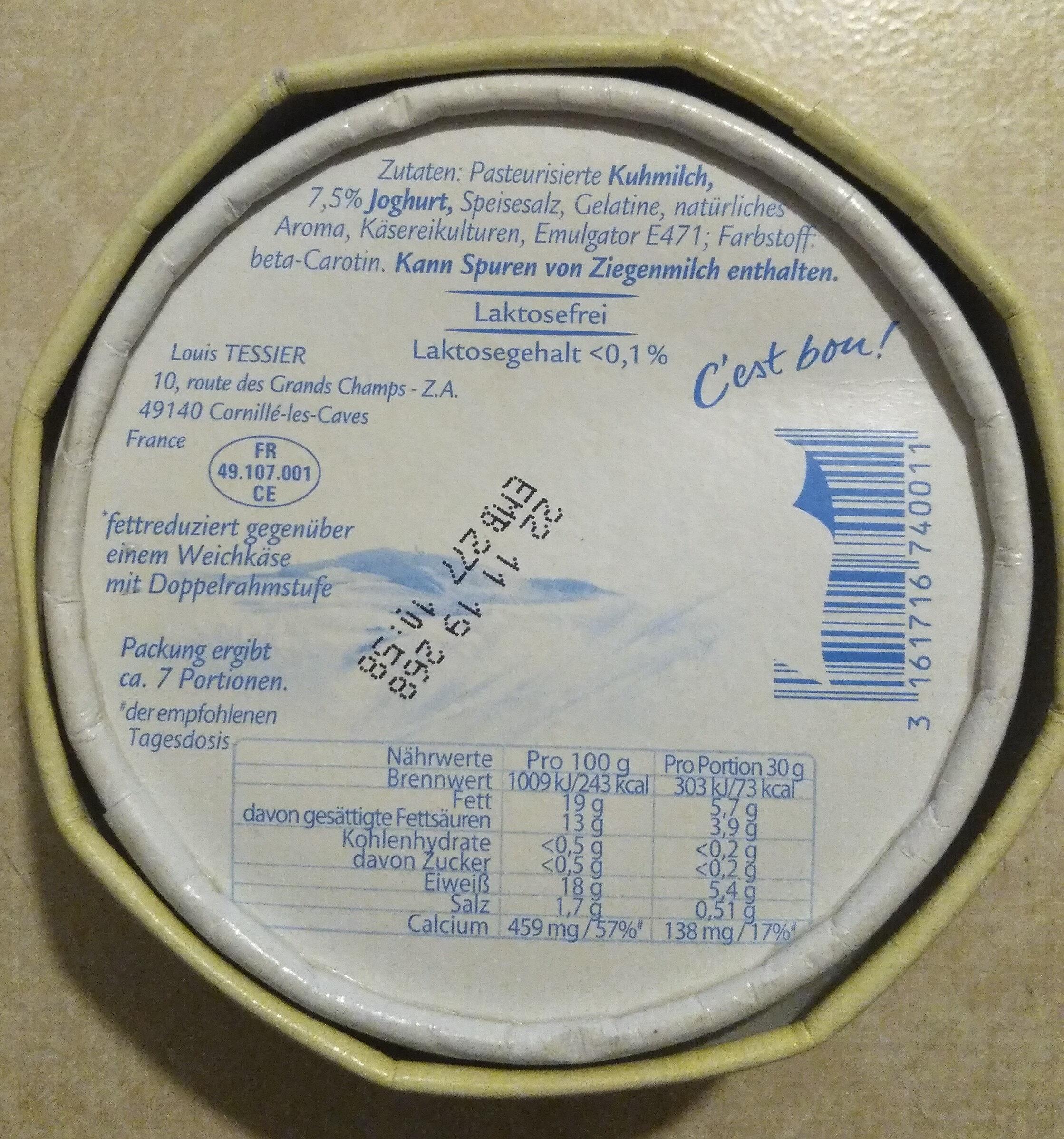 Geramont mit Joghurt - Ingrediënten