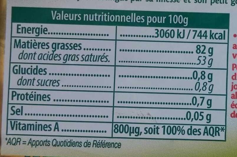 Le Beurre Noisy doux - Voedingswaarden - fr