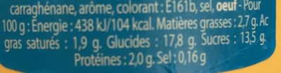 Crème dessert aromatisée saveur vanille stérilisée UHT - حقائق غذائية - fr