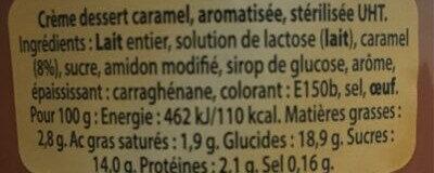 Crème dessert caramel aromatisée stérilisée UHT - Ingrédients - fr