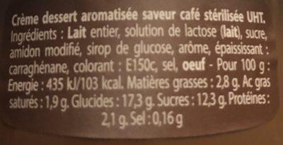 Crème dessert aromatisée saveur café stérilisée UHT - Ingredienti - fr