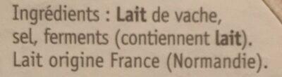 Petit camembert - Ingrédients - fr