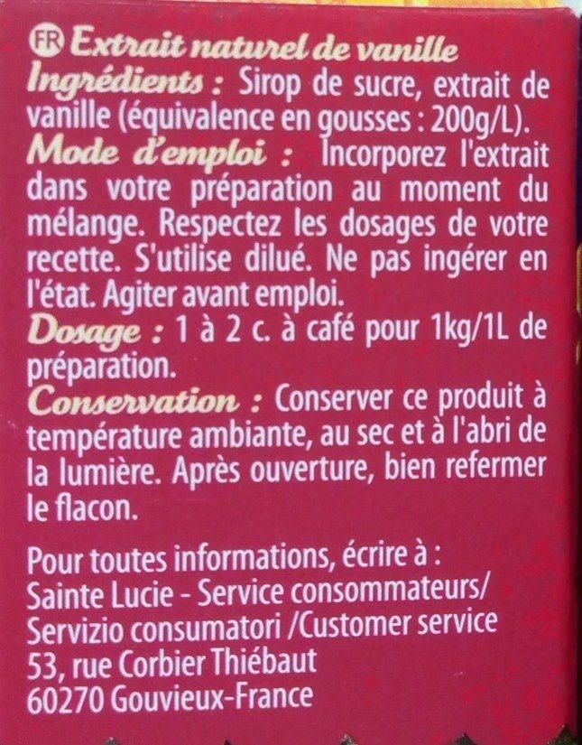 Extrait naturel de Vanille - Ingredients - fr