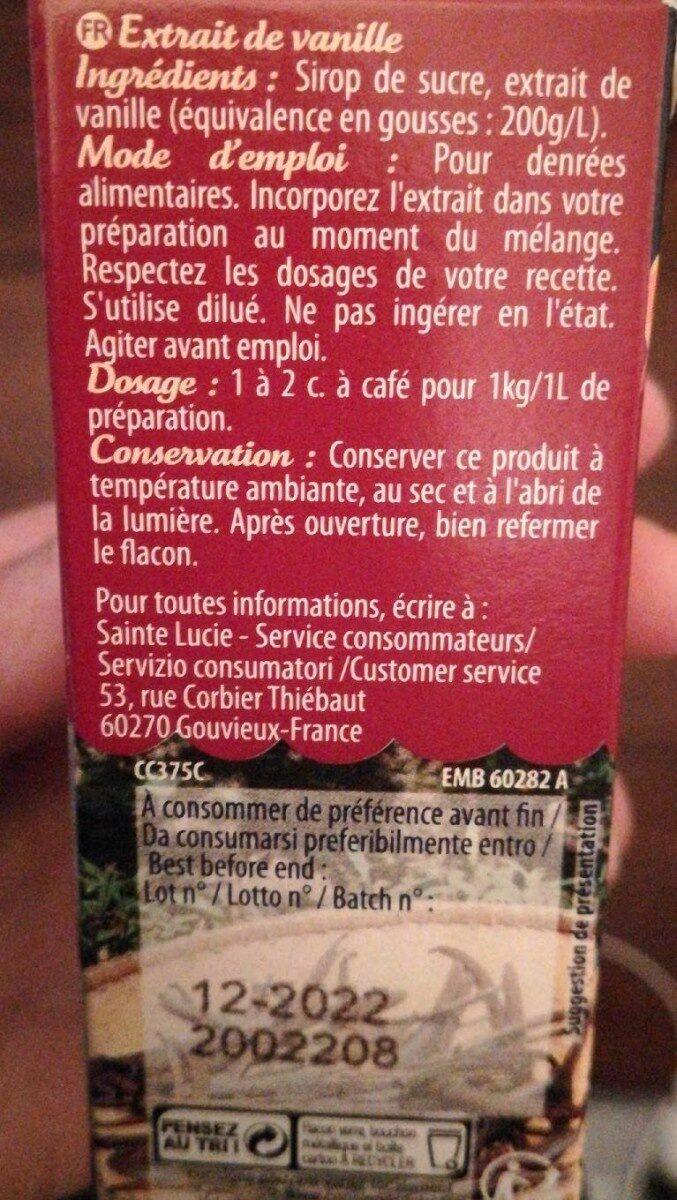 Extrait naturel de Vanille - Nutrition facts - fr