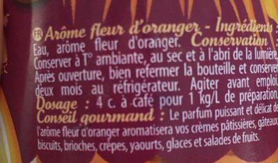 Arôme Fleur d'oranger - Ingrediënten