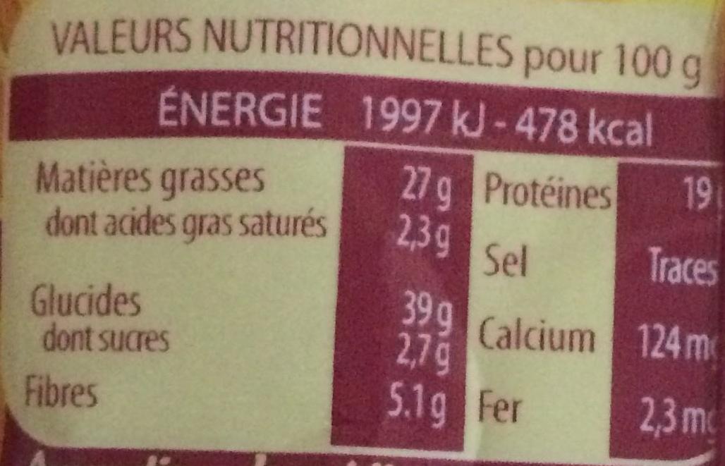 Amandin - Nutrition facts - fr