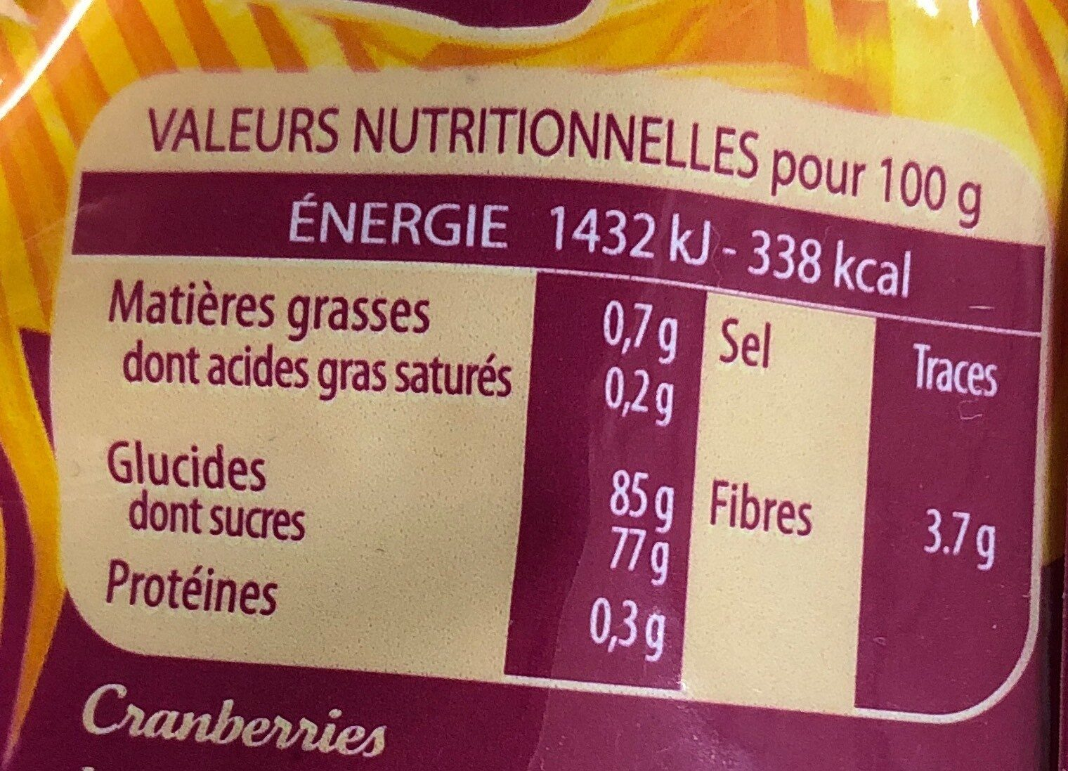 Cranberries - Nutrition facts - fr