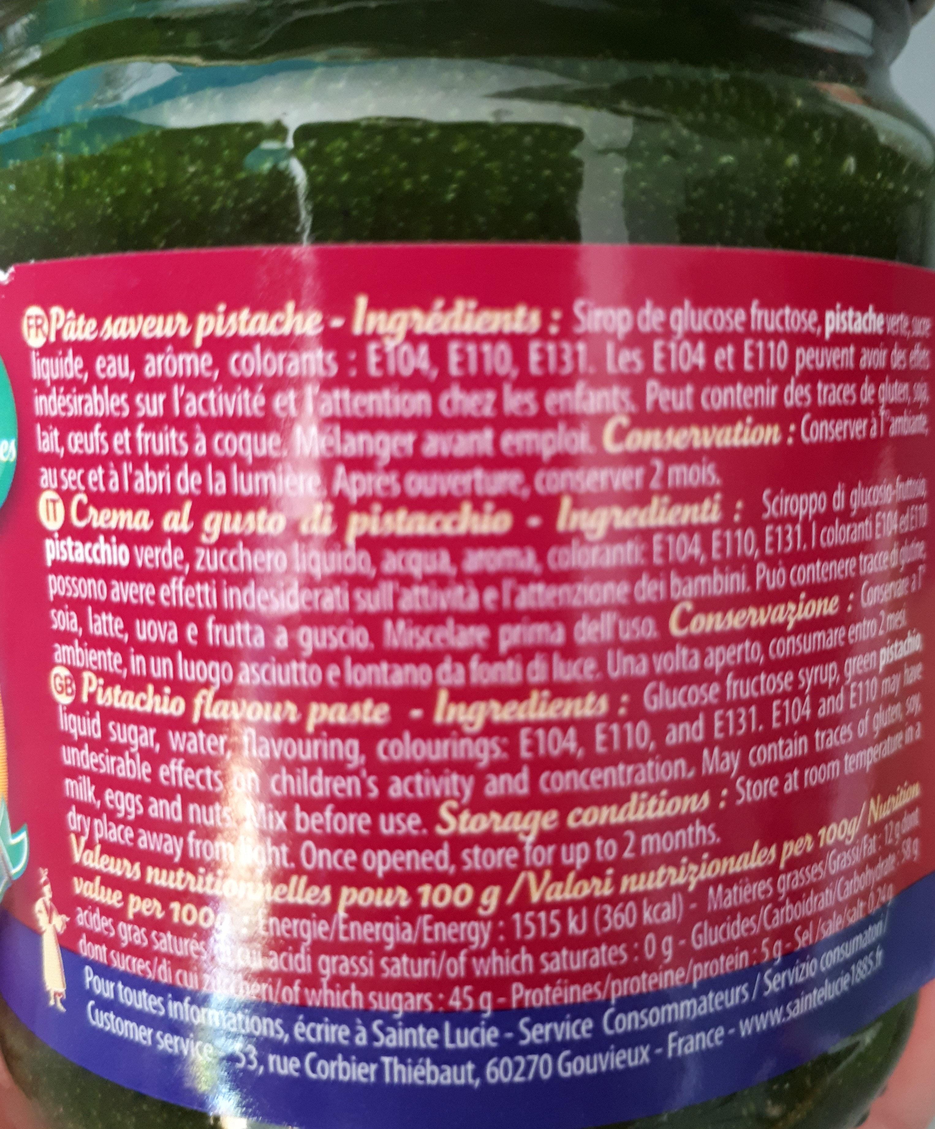 Pâte Saveur Pistache - Informations nutritionnelles