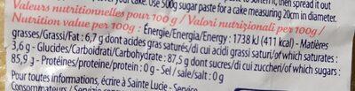 Pate a sucre - Informations nutritionnelles