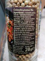 Coriandre graines BIO - Voedingswaarden - fr