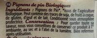 Pignons de pin Bio - Ingredients - fr