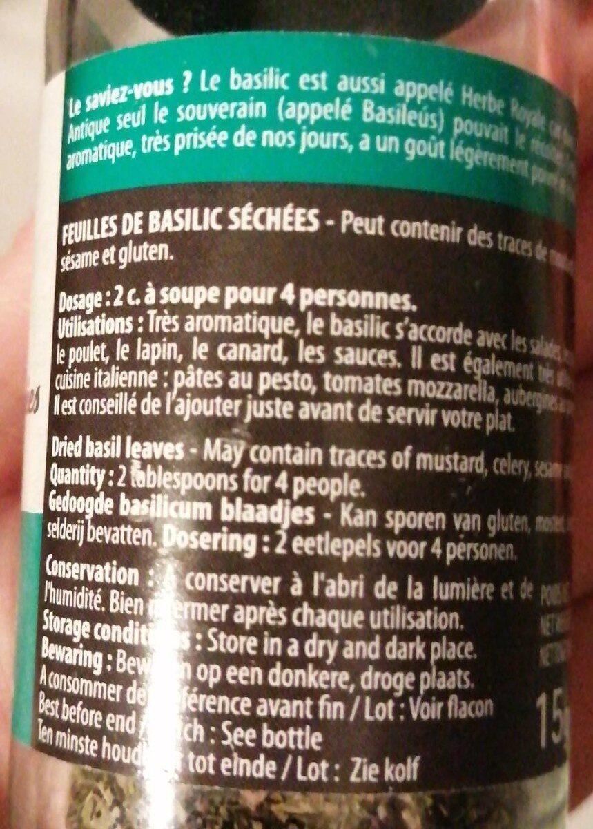 Basilic feuilles coupées - Nutrition facts - fr