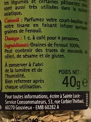 Fenouil graines - Ingrediënten - fr