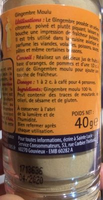 Gingembre moulu - Informations nutritionnelles